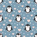 Penguin couple boy and girl baby in love seamless pattern with pink hearts, stars on blue background.