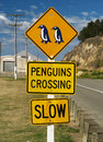 Penguin crossing sign Royalty Free Stock Photo
