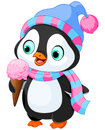 Penguin eats an ice cream cute with hat and scarf Stock Images