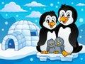 Penguin family theme image 2 Royalty Free Stock Photo
