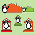 Penguin with hat near the building of the house collection illustration in style hand drawn maps for invitations business Stock Photos