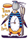 Penguin hero standing with oars at the clock the text to the left of the s time to be a Royalty Free Stock Photography