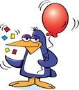 Penguin Holding a Balloon Stock Image
