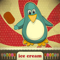 Penguin with ice cream Royalty Free Stock Images