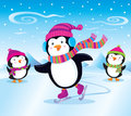 Penguin Ice Skating Royalty Free Stock Photo