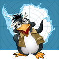 Penguin lecturer illustration with in glasses who talks about antarctica against contour map Stock Photography