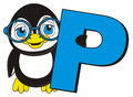 Penguin with letter P Royalty Free Stock Photo