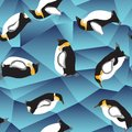 Penguin pattern, blue crystal ice background Royalty Free Stock Photo