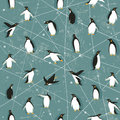 Penguin pattern seamless with little cute penguins on blue background Stock Photo