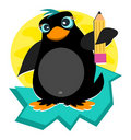 Penguin with Pencil Stock Image