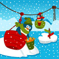 Penguin on ropeway vector illustration Stock Photography