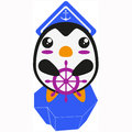 Penguin sailor character japanese cartoon on an iceberg global warming concept Royalty Free Stock Photography