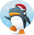 Penguin with santa hat Royalty Free Stock Photos