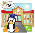 Penguin and school cartoon is sitting in the background of the Stock Photo