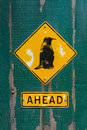 Penguin sign on wooden fence Royalty Free Stock Photo