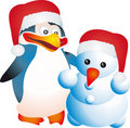 Penguin and snowman  Royalty Free Stock Image