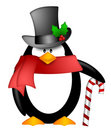 Penguin Top Hat Red Scarf Candy Cane Clipart Stock Photography