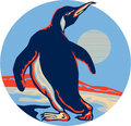 Penguin Walking Moon Retro Royalty Free Stock Photo