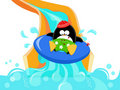 Penguin On Water Slide Royalty Free Stock Images