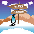 Penguin wishing Merry Christmas Royalty Free Stock Photography