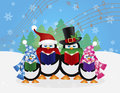 Penguins christmas carolers snow scene illustration with hats and scarfs with winter and random music notes background Royalty Free Stock Photos