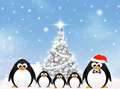 Penguins at christmas illustration of Royalty Free Stock Photography