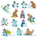 Penguins christmas set for design and scrapbook in Royalty Free Stock Photography