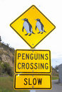 Penguins crossing road sign, Oamaru, NewZealand Stock Photography