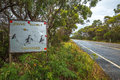 Penguins crossing sign warning about in bruny island neck game reserve tasmania australia Royalty Free Stock Image