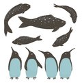 Penguins and fish collection illustration set of their food vector eps Royalty Free Stock Photos