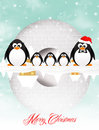 Penguins in the igloo at christmas Stock Photos
