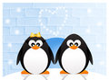 Penguins in love abstract illustration Royalty Free Stock Image