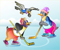 Penguins play in hockey vector illustration Royalty Free Stock Image