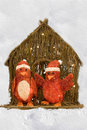 Penguins in red for Christmas Royalty Free Stock Images