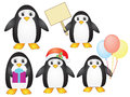 Penguins set of cartoon over white Stock Photos