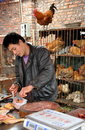 Pengzhou, China: Butcher with Chickens Stock Photo