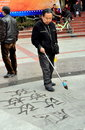 Pengzhou, China: Man Writing Chinese Caligraphy Royalty Free Stock Photography