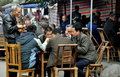 Pengzhou, China: Men Playing Cards at Tea House Stock Photography