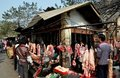 Pengzhou, China: Outdoor Butcher Shop Royalty Free Stock Photography