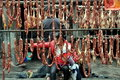 Pengzhou, China: Sausages Curing at Smokehouse Royalty Free Stock Photography