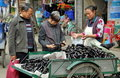Pengzhou, China: Street Vendor Selling Eggplants Stock Photography