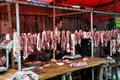 Pengzhou, China: Tian Fu Butcher Shop Royalty Free Stock Photos