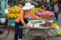 Pengzhou, China: Woman Selling Grapes Stock Photo