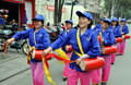 Pengzhou, China: Women's Waist-Drum Band Royalty Free Stock Photo