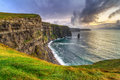 Penhascos de moher no por do sol Fotografia de Stock Royalty Free