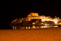 Peniscola at night shot of old town castellon spain Royalty Free Stock Photography