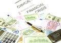 Penna för euro för dollar för sedelräknemaskinmobiltelefon Fotografering för Bildbyråer