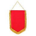 Pennant red with fringe, white background