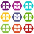 Pennants icon set color hexahedron