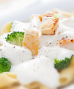 Penne alfredo closeup close up shot of tasty with grilled chicken and broccoli in rich cream Royalty Free Stock Photos